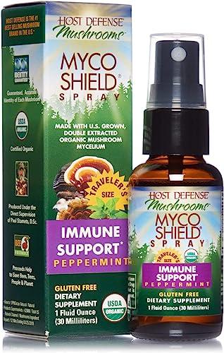 Host Defense, MycoShield Peppermint Spray, Immune Support, Mushroom Supplement with Turkey Tail, Reishi and Chaga, Vegan, Organic, 1 oz 71 Servings