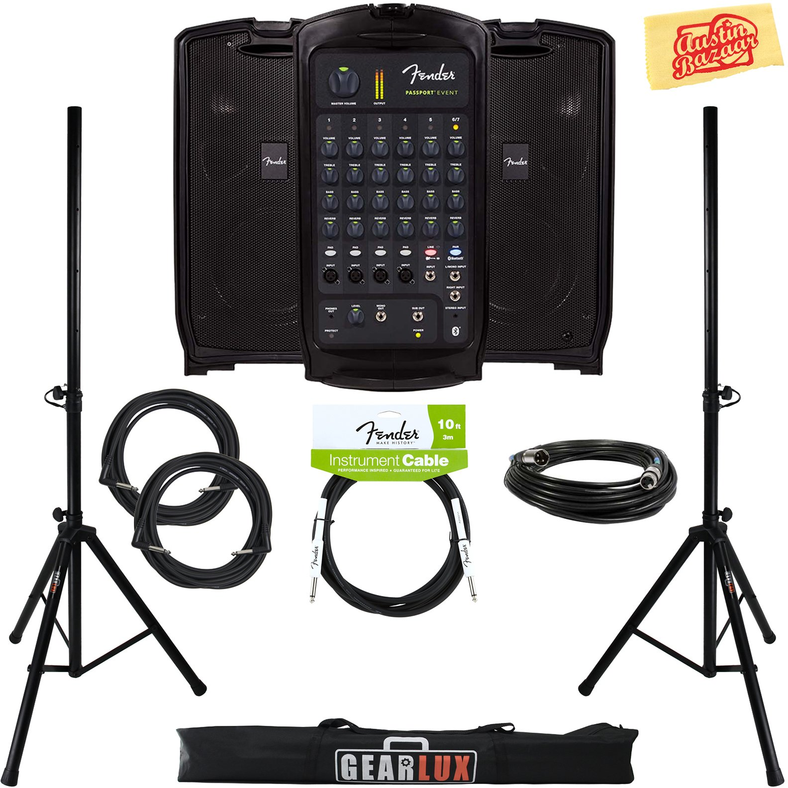 Fender Passport Event Portable PA System Bundle with Speaker Stands, XLR Cable, Instrument Cable, and Austin Bazaar Polishing Cloth