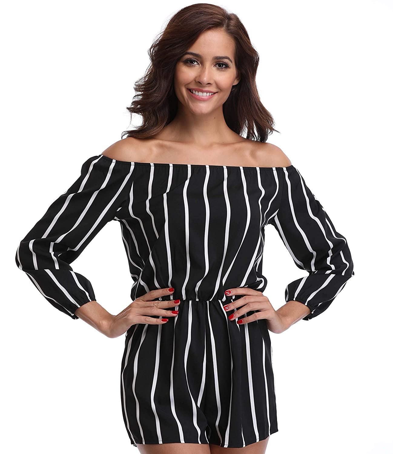 6e9e7685e34f Amazon.com  MISS MOLY Women Playsuit Short Romper Jumpsuit Off The Shoulder  for Lady Summer Rompers Playsuits 3 4 Sleeves  Clothing