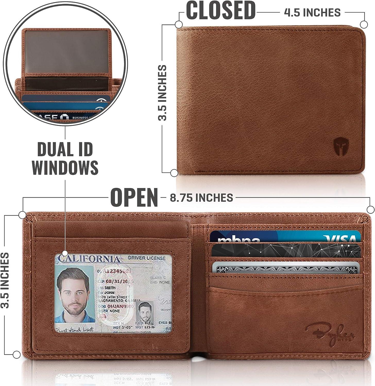 2 ID Window RFID Wallet for Men Bifold Top Flip Black - Sheepskin Leather, Medium Extra Capacity Travel Wallet