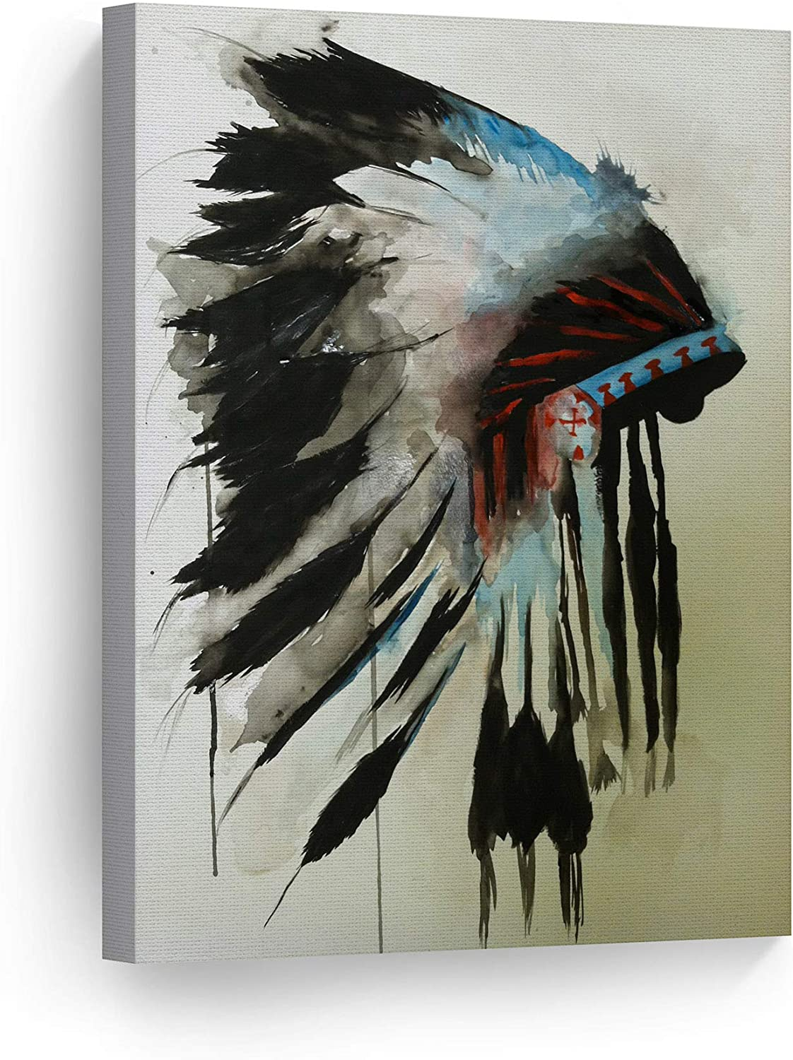 Amazon Com Smileartdesign Indian Wall Art Native American Chiefs Headdress Feathered Watercolor Canvas Print Home Decor Decorative Artwork Living Room Bedroom Wall Decor Ready To Hang Made In Usa 12x8 Posters