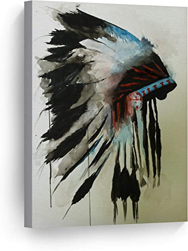 SmileArtDesign Indian Wall Art Native American Chiefs Headdress Feathered Watercolor Canvas Print Home Decor Decorative Artwork Living Room Bedroom Wall Decor Ready to Hang Made