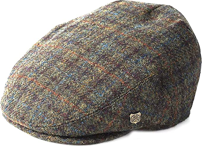 Failsworth Hats Donegal Tweed Flat Cap Patchwork Blue