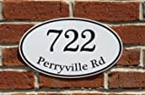 """Custom Home Address Sign, Personalized House Number Sign, 12"""" x 7"""" Aluminum Oval, Variety of Colors to Choose from"""