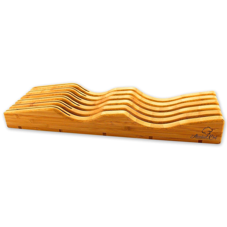 amazoncom abundant chef indrawer bamboo kitchen knife storage block organizer and holder premium quality kitchen u0026 dining - Knife Storage