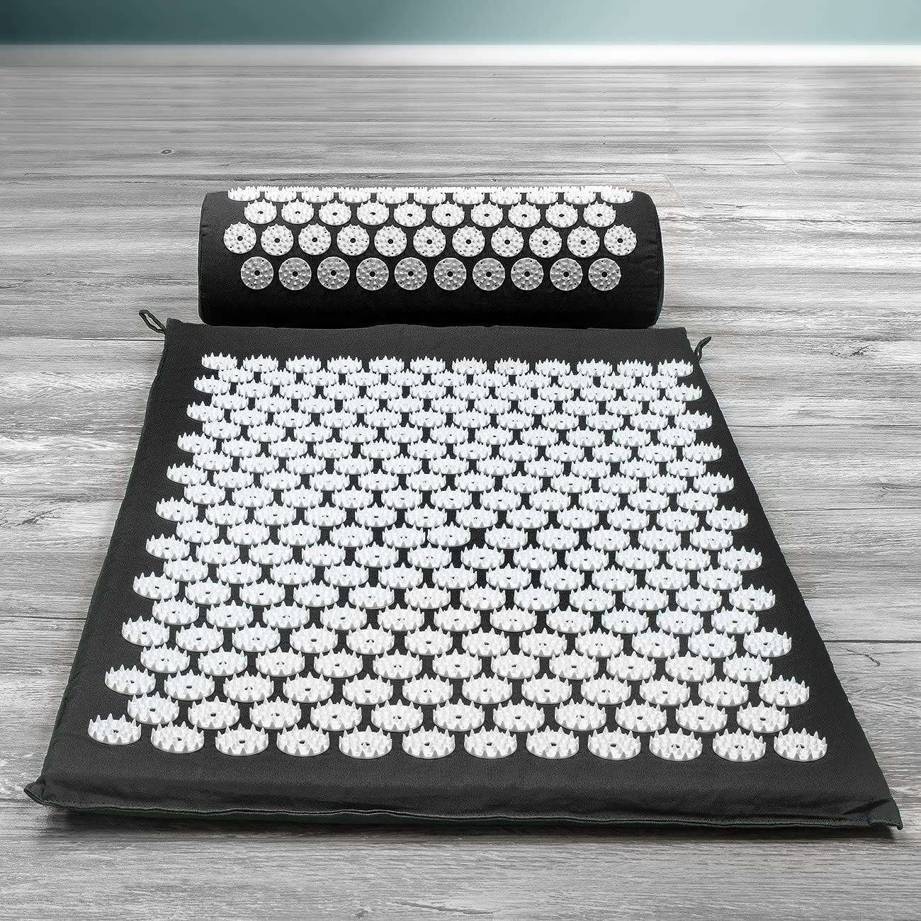 Acupressure Mat and Pillow Set for Back and Neck Pain Relief - Black