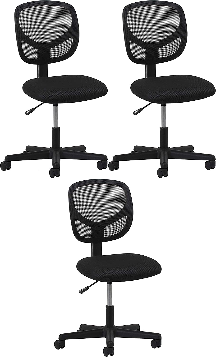 Essentials Swivel Armless Mid Back Mesh Task Chair – Ergonomic Computer Office Chair Pack of 3