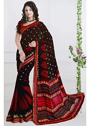 86fb51a169 Georgette Polka Dot Sari with Blouse Unstitched Indian Clothing Women Wear  Fashion: Amazon.co.uk: Clothing