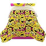 Emojination Happy Reversible Twin Comforter, Yellow Pink