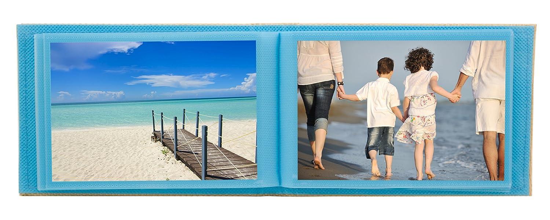 Blue BorderTrends Beach 40-Pocket Rattan Cover Photo Album