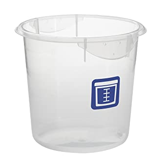 Rubbermaid Commercial Products 1980396 Round Plastic Food Storage Container,  Blue Label, 4 Quart,