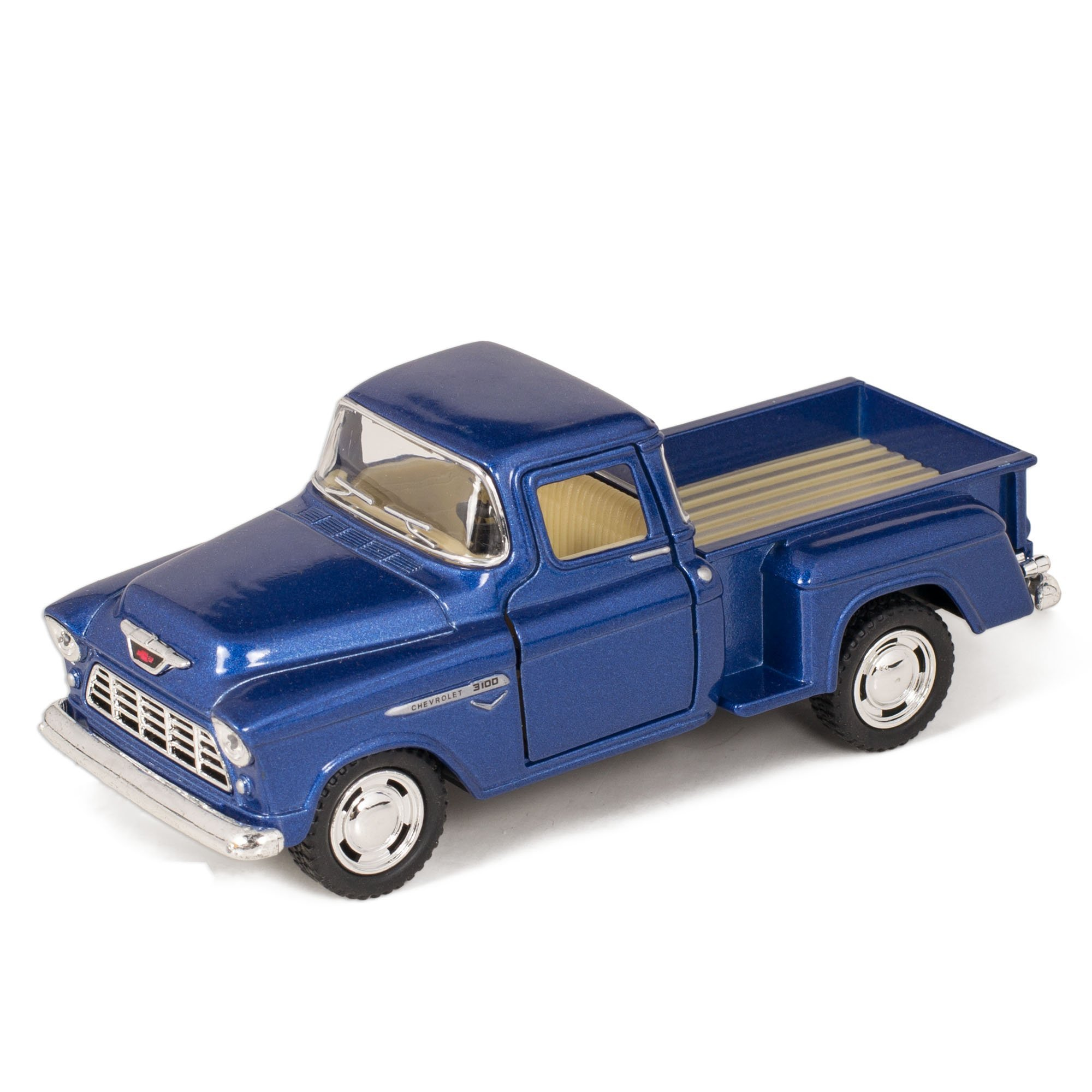Kinsmart 1955 Chevy Step Side Pick-Up Die Cast Collectible Toy Truck, Blue