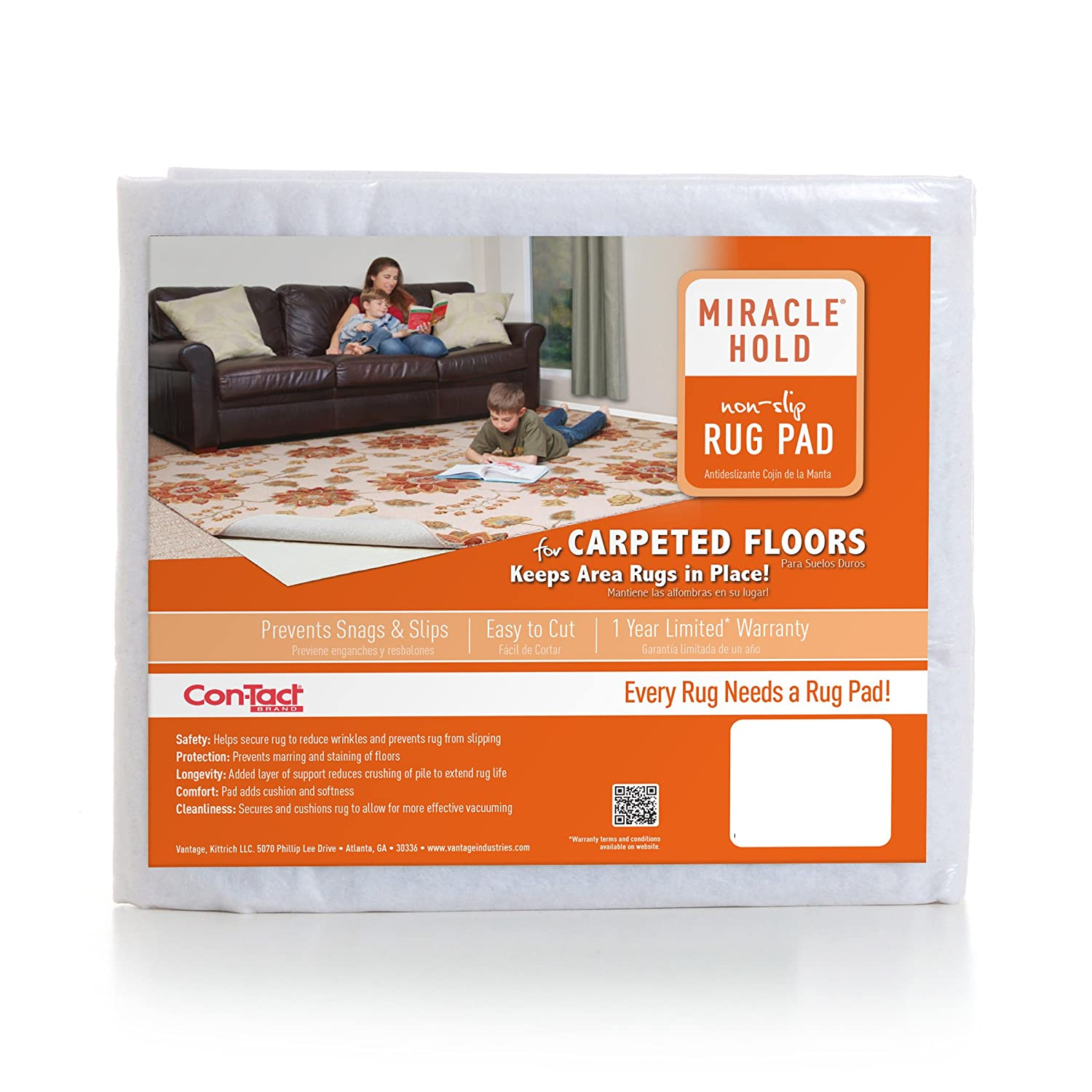 Amazon.com: Con-Tact Rug Pad 5x8, Non-Slip Area Rug Pad for Carpet over Carpet, Miracle Hold: Kitchen & Dining