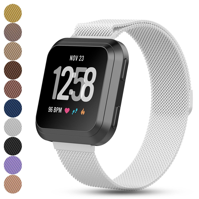 feskio Fitbit Versaスマートウォッチ交換バンド、マグネットロックMilanese Loopステンレススチールブレスレット手首ストラップウォッチバンドfor FitbitユニセックスVersa Health and Fitness Smartwatch B07BQQJKYK Small|シルバー シルバー Small