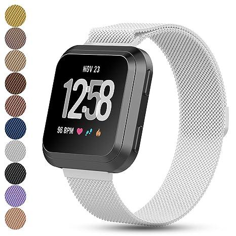 iFeeker Fitbit Versa Bracelet milanais de remplacement pour montre connectée - Fermeture magnétique - En acier inoxydable, unisexe: Amazon.fr: Sports et ...
