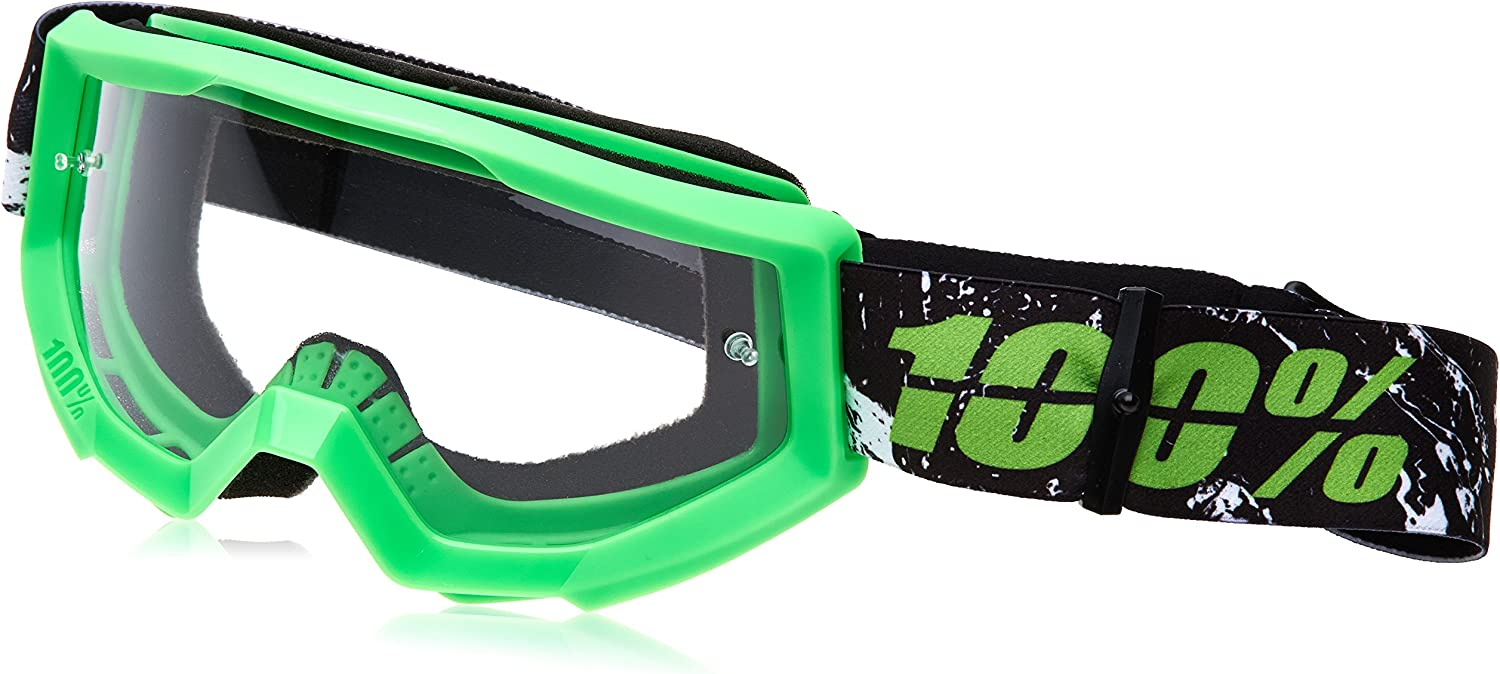 Amazon Com 100 Strata Mx Goggles Primary Color Green Distinct Name Crafty Lime Clear Lens Gender Mens Unisex 50400 078 02 Powersports Goggles Sports Outdoors