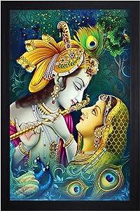 NOBILITY Radha Krishna Framed Painting UV Textured Design Religious Wall Art Decor Showpiece Figurine Idol Statue