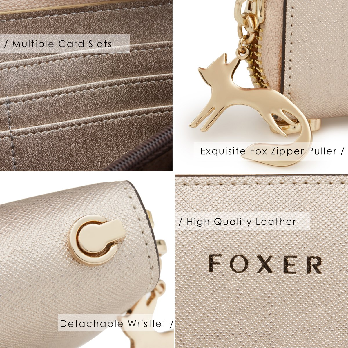 FOXER Women Leather Wallet Bifold Wallet Clutch Wallet with Wristlet (Gold) by FOXER (Image #4)