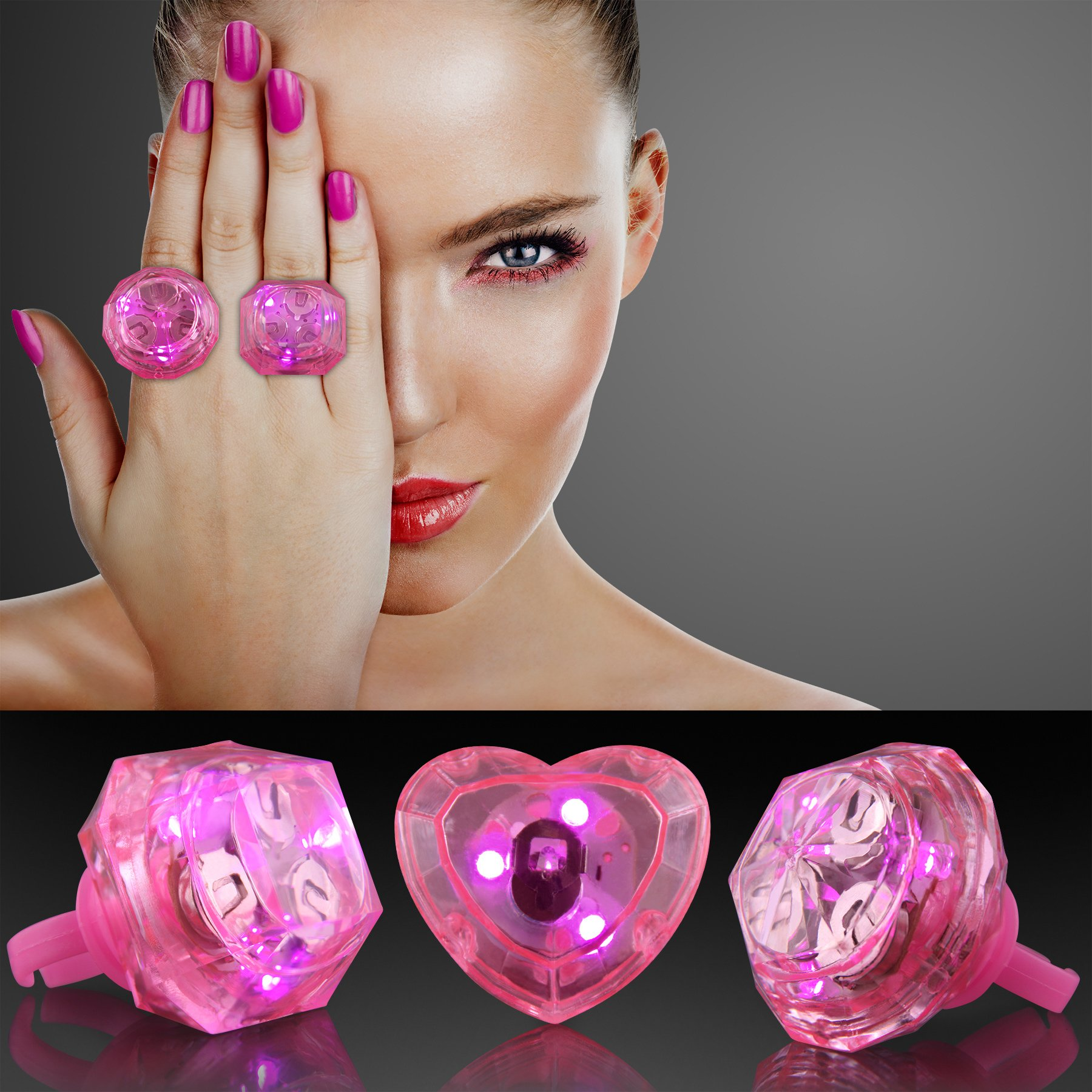 Huge Pink Gem Light Up Rings, 3 Assorted Styles (Set of 24)