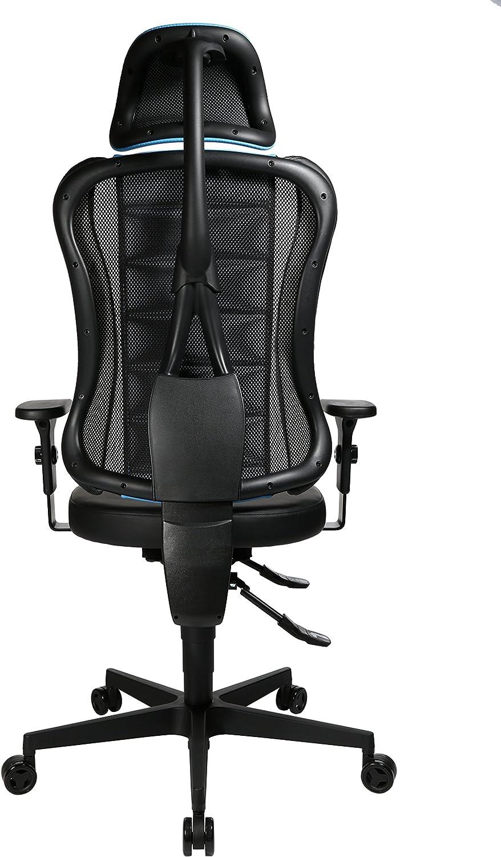 Topstar Sitness Racer RS Chaise de Bureau pivotante avec accoudoirs et Appui-tête, Similicuir, Bleu/Noir, 60 x 68 x 139 cm