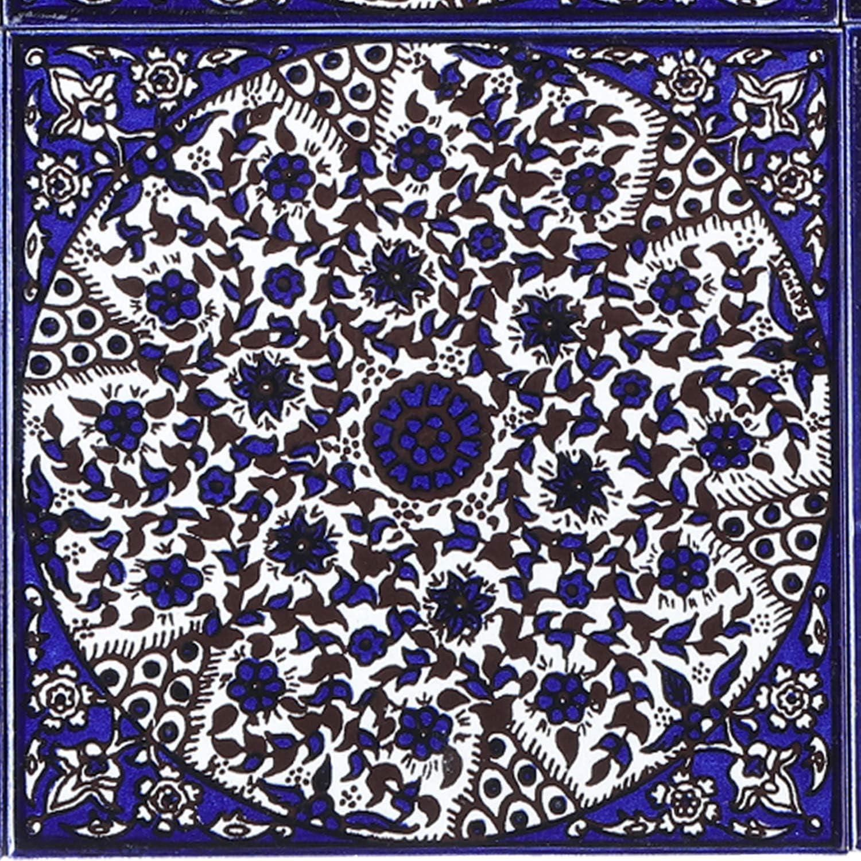 Wandfliese f/ür sch/öne K/üche Dusche Badezimmer Dekoration FL8314 Kunsthandwerk aus Pal/ästina Orientalische handbemalte Keramikfliese Isa-14 14,8x14,8 cm