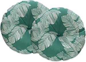 FBTS Prime Outdoor Pillows Set of 2 Emerald Green Leaves 18x18 Inch Circular Patio Cushions for Chair Patio Furniture