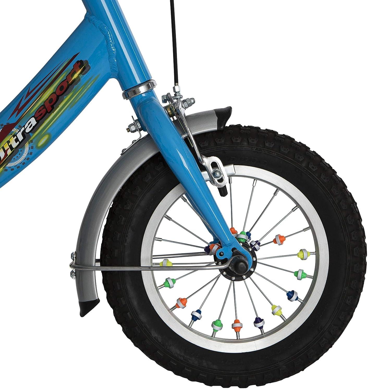 Ultrasport Paquete de 36 Perlas Reflectantes de Colores para radios diversión y Seguridad para Bicicletas Infantiles, Unisex, Rojo/Verde/Amarillo/Rosa, ...