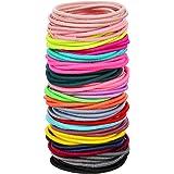 100 Count Girls Elastic Hair Ties Ponytail Holders No Metal Multicolor Hair Elastics (3.5 x 0.2 cm)