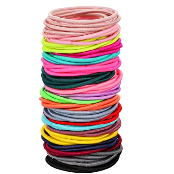 Amazon.com   eBoot 100 Count Elastic Hair Ties Ponytail Holders No Metal  Multicolor Girls Hair Elastics (3.5 x 0.2 cm)   Beauty d2228697f4c