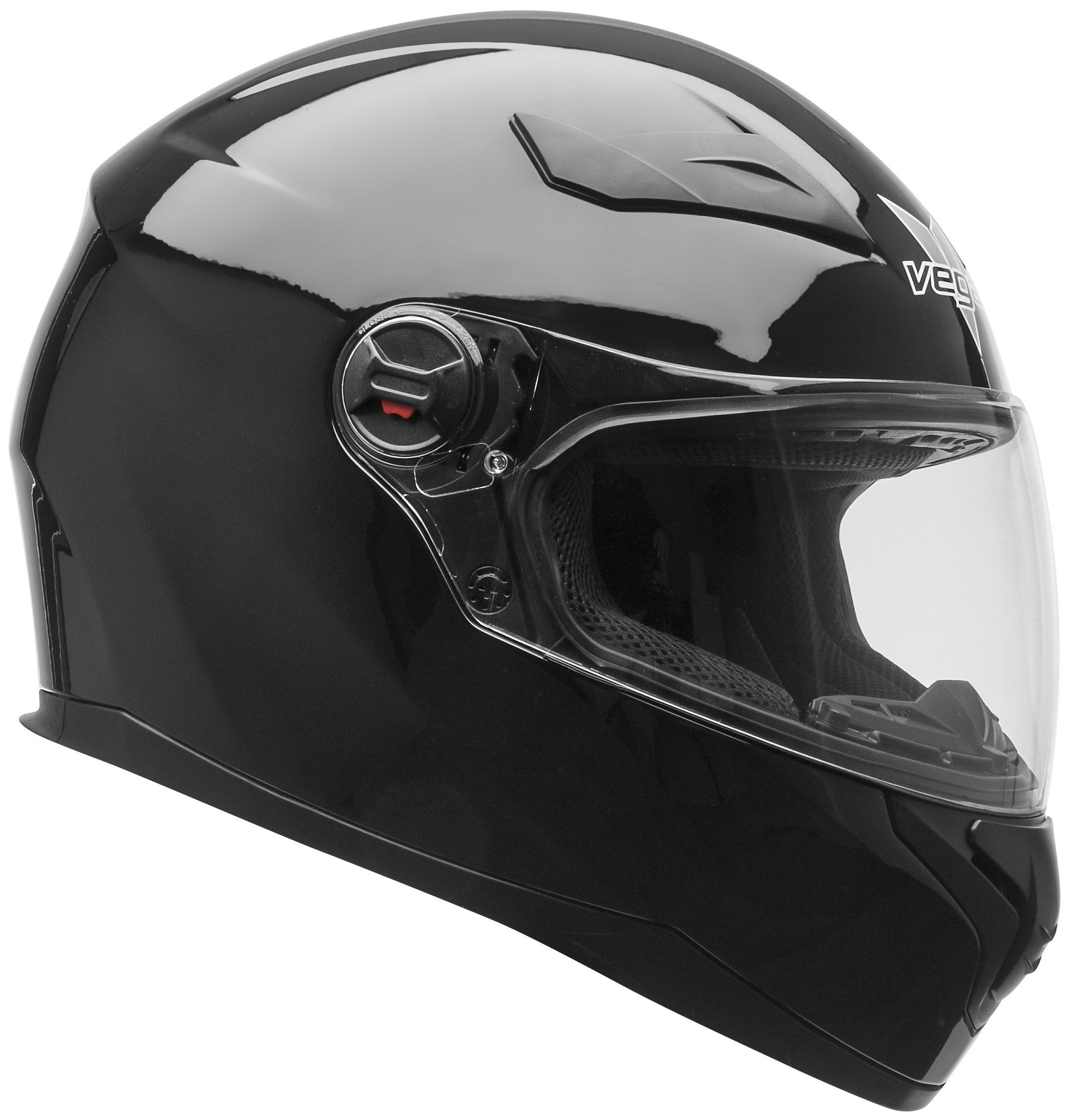 Vega Helmets AT2 Street Motorcycle Helmet for Men & Women - DOT Certified Full Face Motorbike Helmet for Cruisers Sports Street Bike Scooter Touring Moped (Black, Large) by Vega Helmets