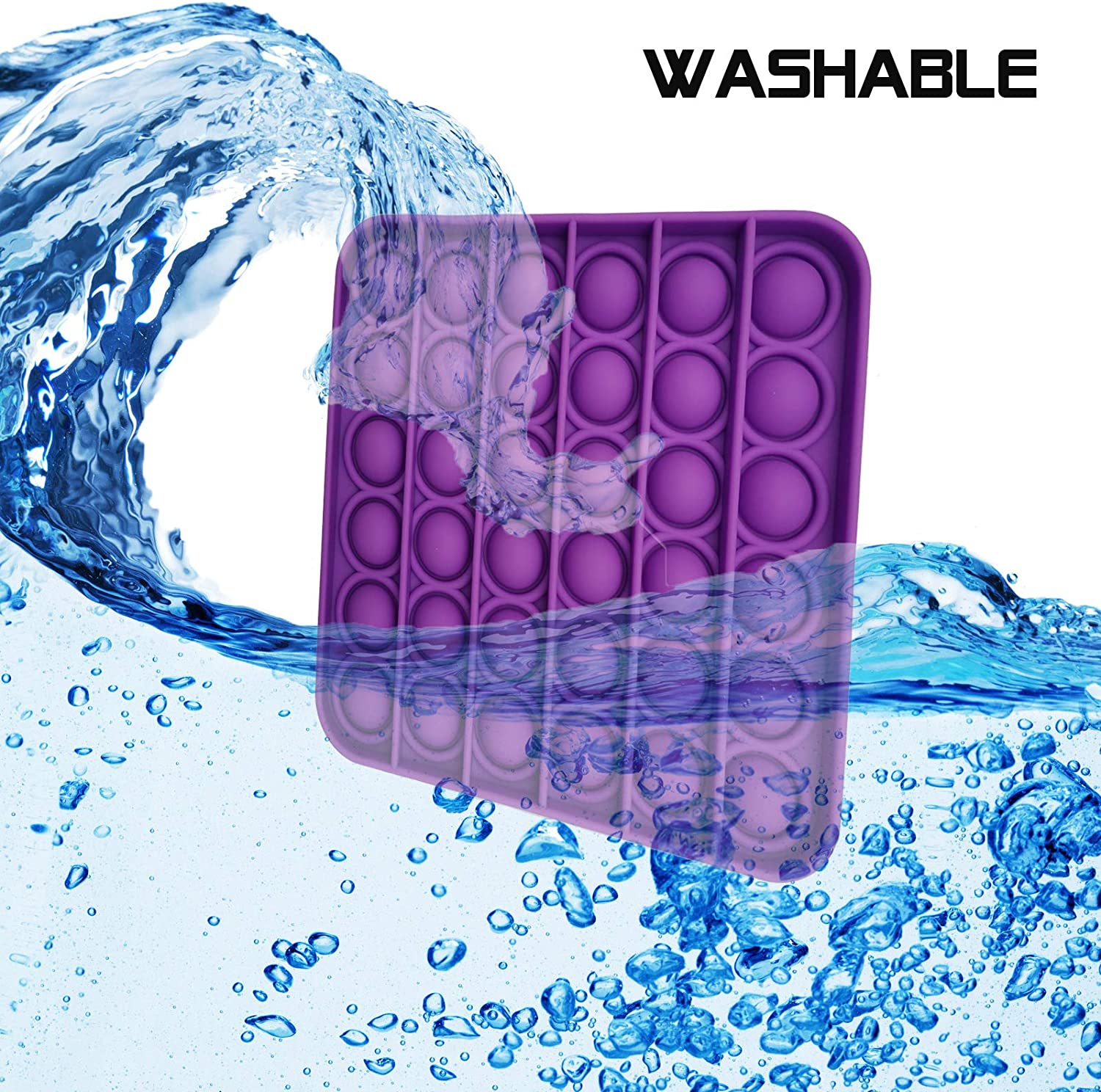 Push Pop Bubble Fidget Sensory Toy for The Old and Young,Autism Special Needs and Anti-Anxiety Stress Reliever Toys,Food Grade Silicone Purple Square