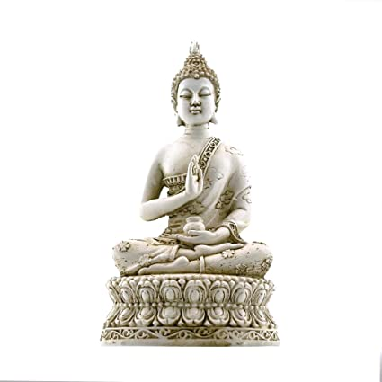 Ornerx Thai Sitting Buddha Statue For Home Decor Ivory 6.7 U0026quot;