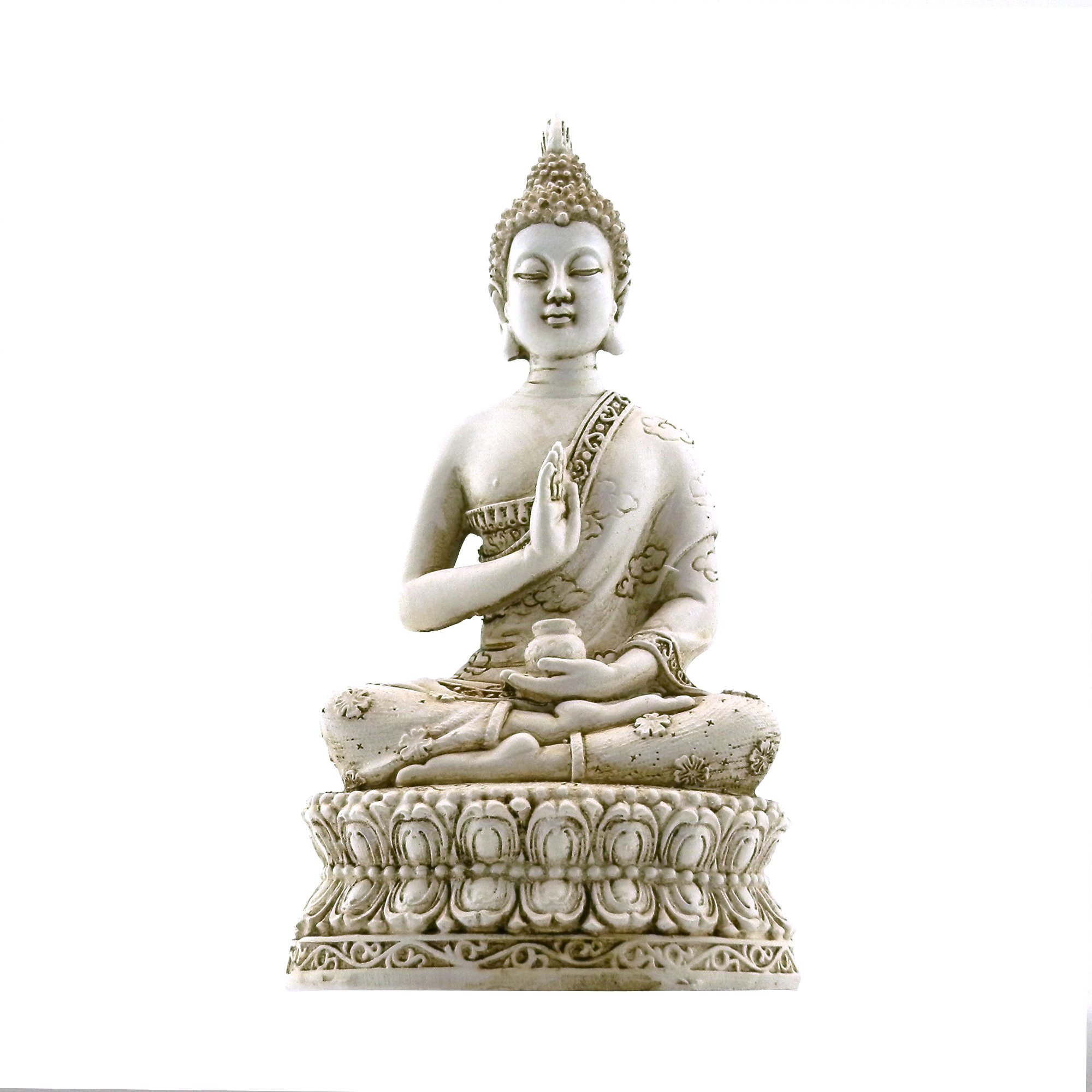 ornerx Thai Sitting Buddha Statue for Home Decor Ivory 6.7''