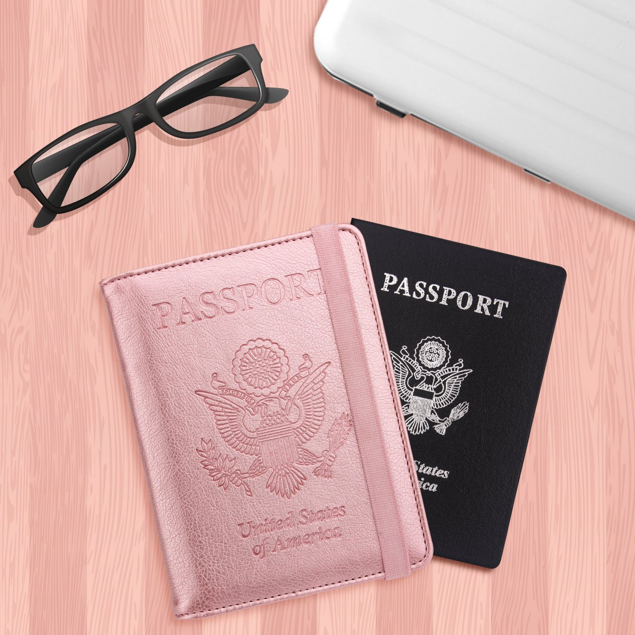 WALNEW RFID Passport Holder Cover Traveling Passport Case (Rosegold) by WALNEW (Image #7)
