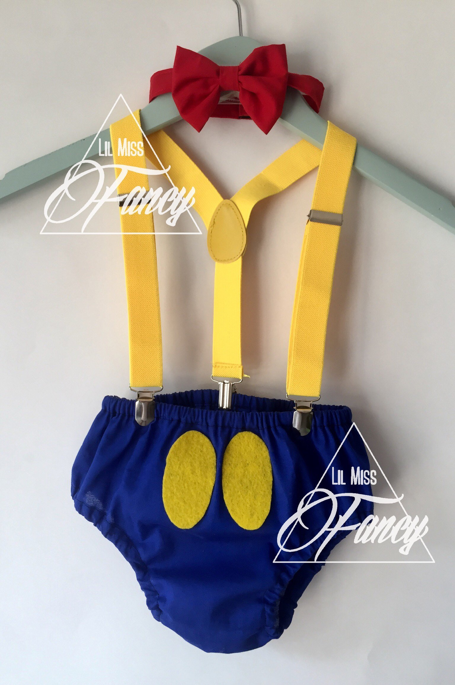 Disney Donald Duck Boys Cake Smash First Birthday Outfit with Polka Dot Clip Suspenders and Bow Tie w/Optional Party Hat
