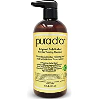 PURA D'OR Original Gold Label Anti-Thinning Shampoo Clinically Tested, Infused with Argan Oil, Biotin & Natural Ingredients, Sulfate Free, All Hair Types, Men and Women, 16 Fl Oz