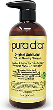 PURA D'OR Original Gold Label 16 Fl Oz Anti-Thinning Shampoo