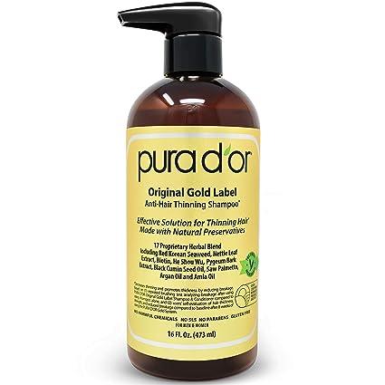 PURA DOR Champú de aceite de argán orgánico Premium para la prevenciónde Caída del cabello (Gold Label), 16 onzas líquido