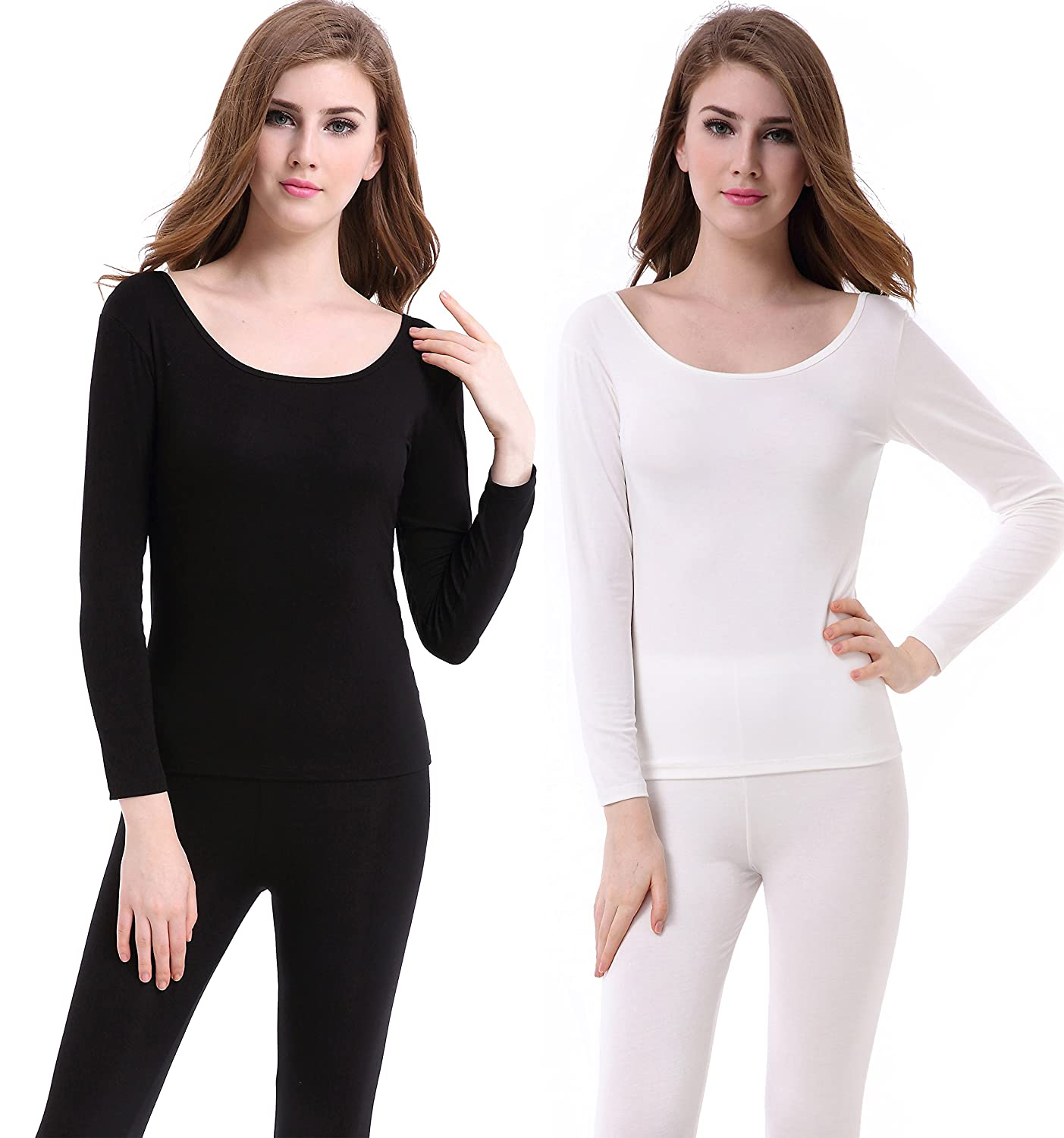 Women's Scoop Neck Thermal Underwear Set Stretch Comfy Base Layer Long Johns