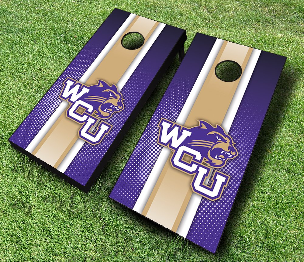 "Western Carolina Catamounts WCU ""ストライプ""テーマCornhole WrapsボードセットBean Bag Toss + 8 ACA Regulation Bags ~ MADE IN THE USA B018C09D52 Parent"