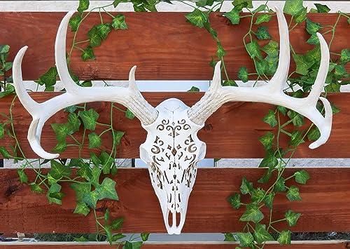 Ebros Large Vintage Filigree Design Buck Deer Head Skull Wall Decor 3D Art Hanging Plaque In Resin 22″Wide