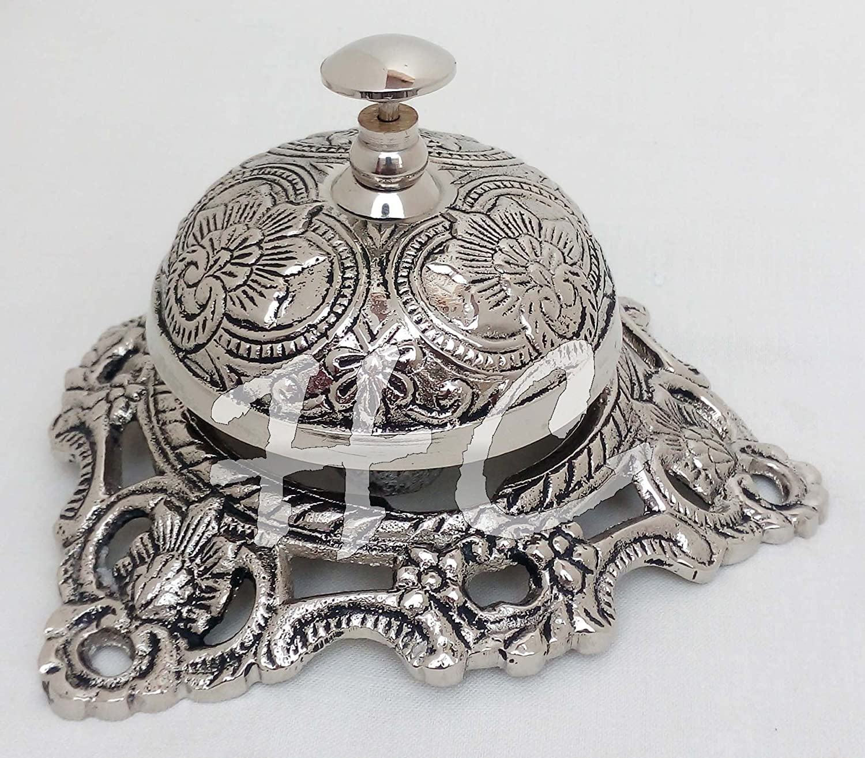 Hanzla Collection Vintage Brass Reception Desk Service Bell Ornate Call Ringer School Office Bell