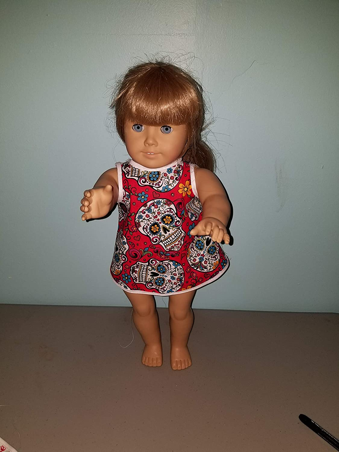 my life our generation 18 Doll Red Skulls Dress Retro fits American girl