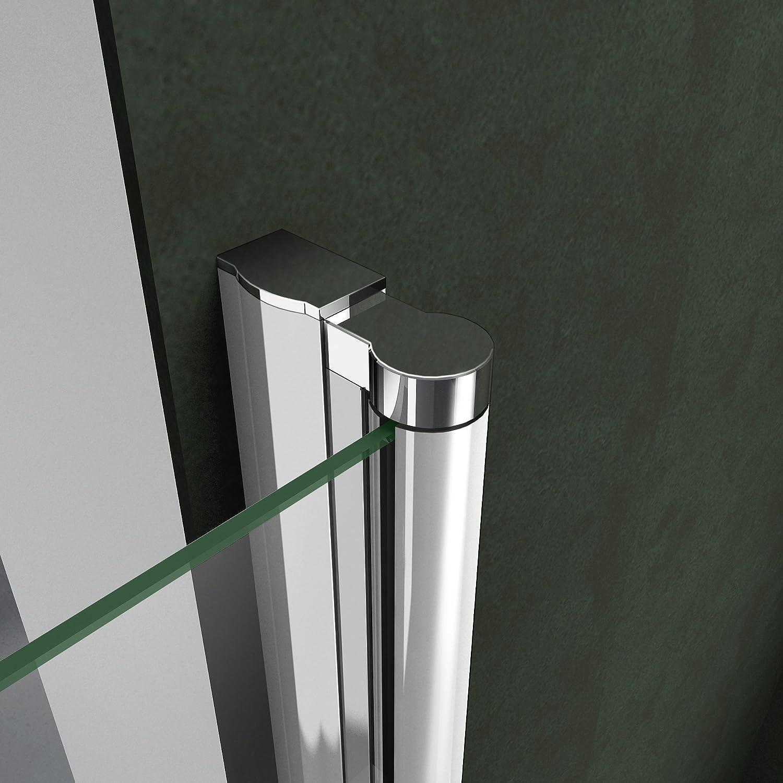 Box Doccia Angolare Doppie Porte Apertura Totale Rotazione 180 Gradi Cristallo Temperato Trasparente Anticalcare 100x90x195cm