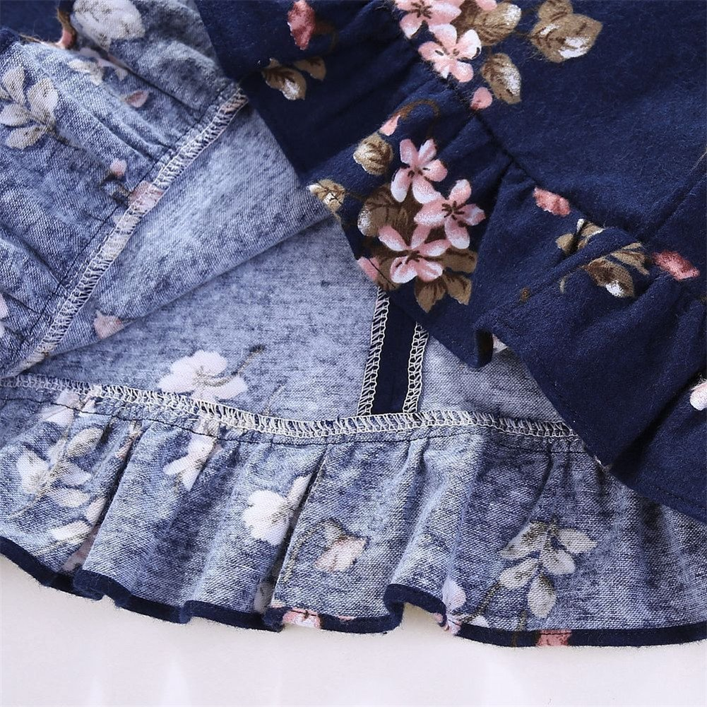 Comfybuy Baby Teen Girls Casual Floral Princess Dress Headband Set Long Sleeves Blue Claret 1-7T