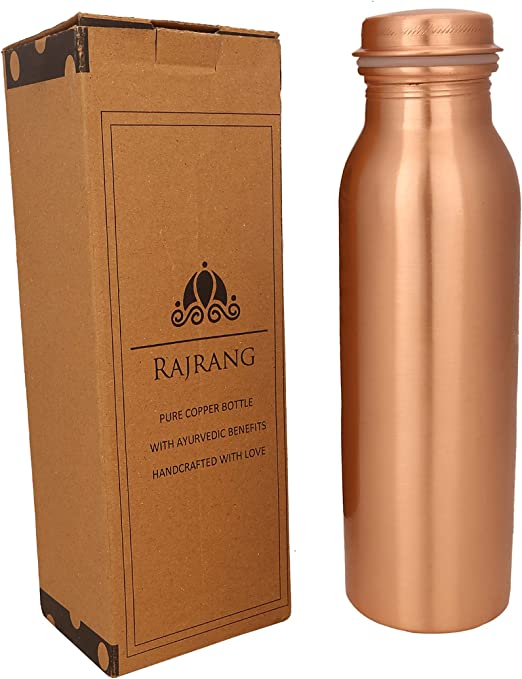 RAJRANG BRINGING RAJASTHAN TO YOU Pure Copper Water Bottle 32 oz - Leak Proof Design Vessel Ayurvedic Health Benefit Pitcher for Sport, Fitness, Yoga