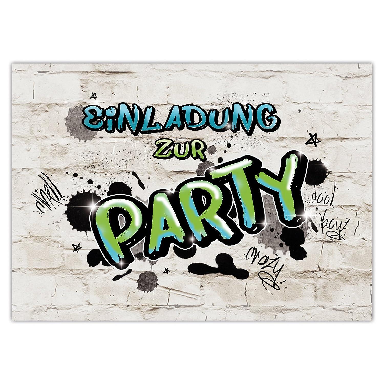 5c452b202aaa0b 10 EINLADUNGEN zum Geburtstag PARTY GRAFFITI/Einladungskarten zur  Party/Einladungskarten Kindergeburtstag
