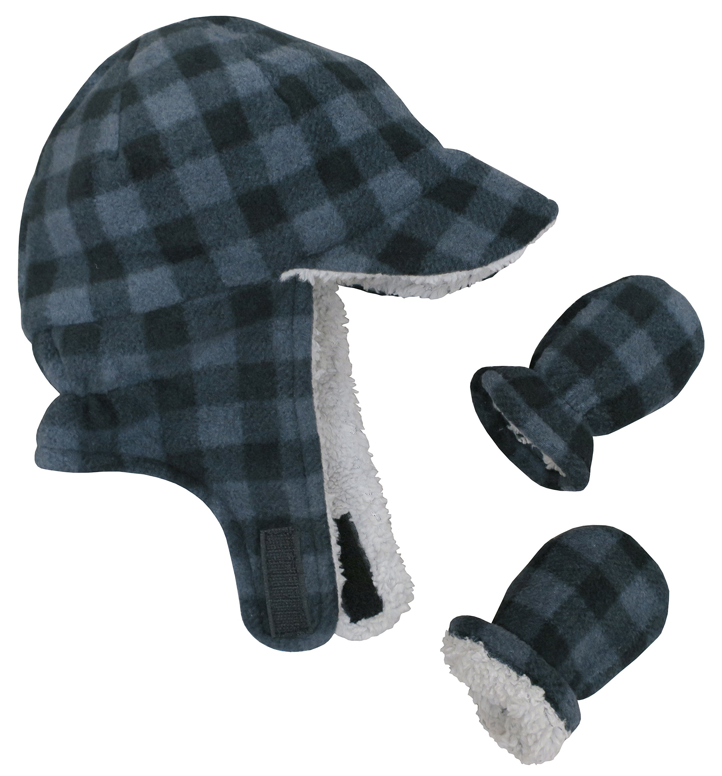 N'Ice Caps Little Boys and Baby Sherpa Lined Fleece Flap Hat Mitten Winter Set (6-18 Months, Charcoal Gray Buffalo Plaid Infant)