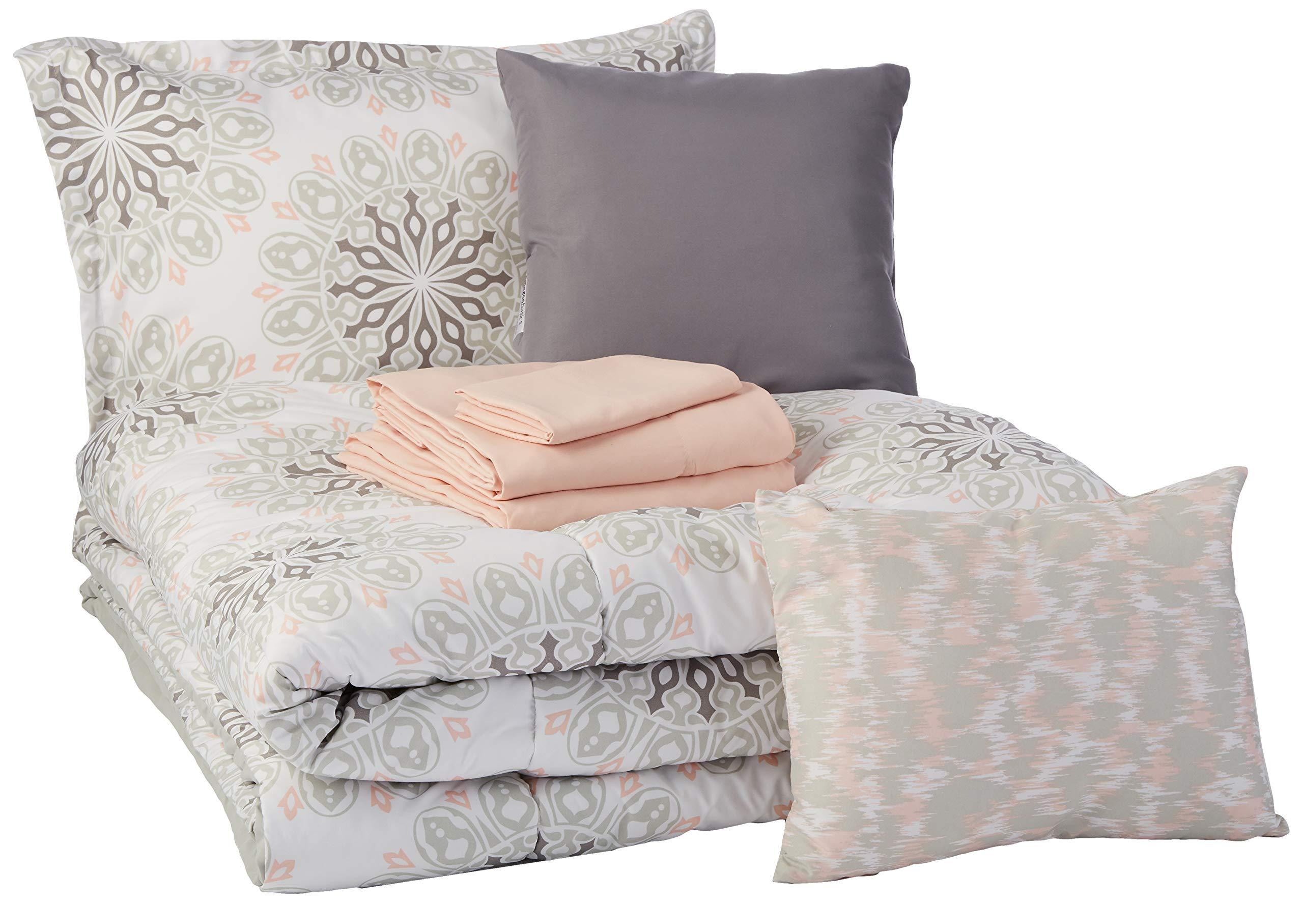 AmazonBasics Bed-in-a-Bag - Soft, Easy-Wash Microfiber - 8-Piece Twin/Twin XL, Grey Boho Medallion