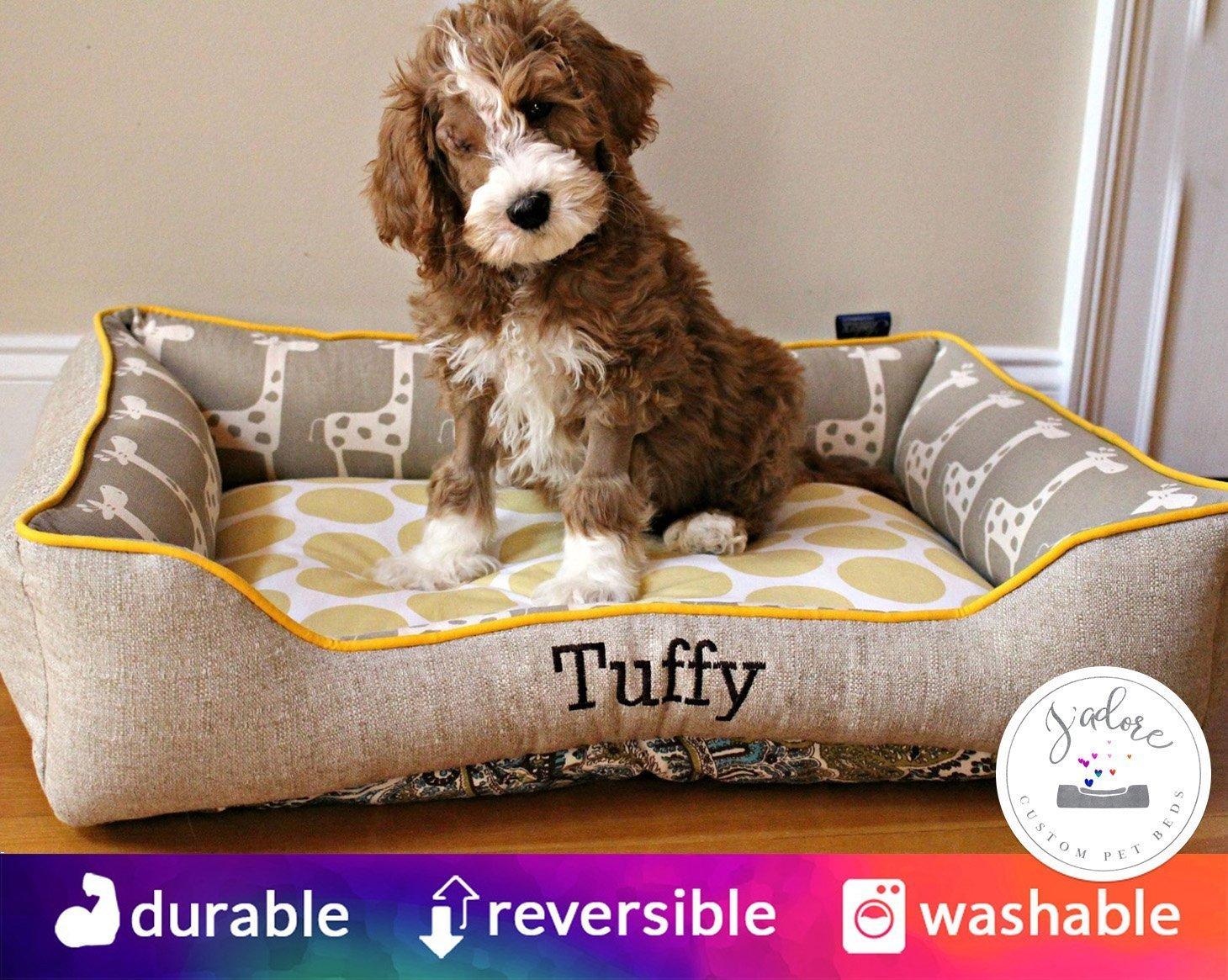 Dog Bed with Embroidery | Washable Removable Cover | Monogram Cute Nursery Giraffe Polka Dot